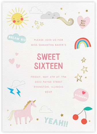 Unicorn Weather - Meri Meri - Sweet 16 invitations