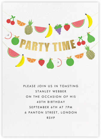 Fruit Bunting - Meri Meri - Adult birthday invitations