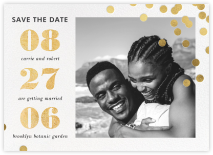Confetti Ceremony - kate spade new york - Gold and metallic save the dates
