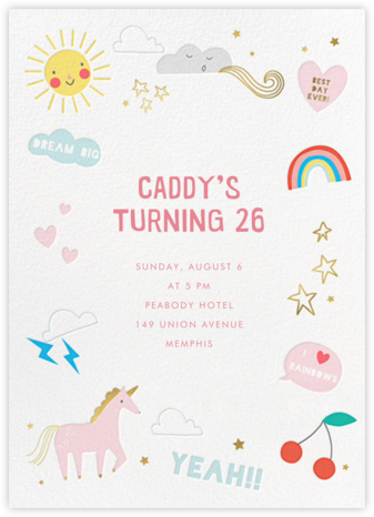 Unicorn Weather - Meri Meri - Adult Birthday Invitations