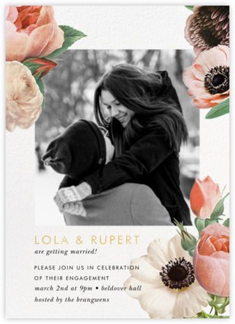 Floral Collage Photo - kate spade new york - Engagement party invitations