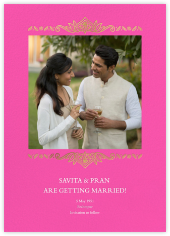 Dvaar (Photo Save the Date) - Schiaparelli - Paperless Post - Indian Wedding Cards