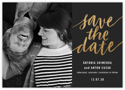 Evelina (Photo) - Caviar - Paperless Post - Gold and metallic save the dates