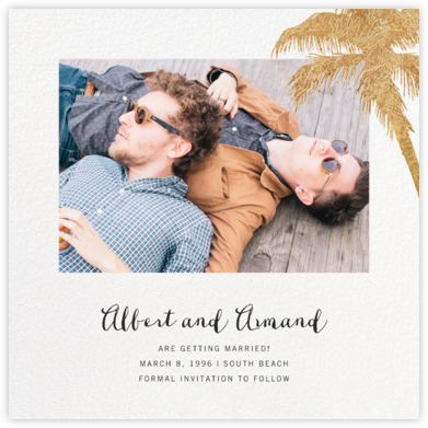 Tropical Palm (Photo Save the Date) - White - Paperless Post - Photo save the dates