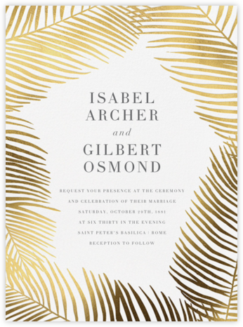 Palmier I - Gold - Paperless Post - Wedding Invitations