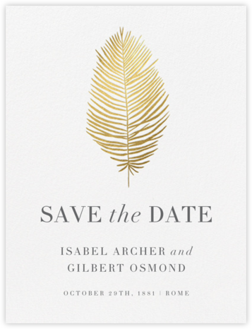 Palmier I (Save the Date) - Gold - Paperless Post - Gold and metallic save the dates
