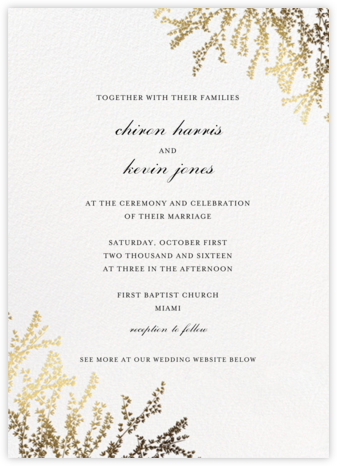 Forsythia (Invitation) - White - Paperless Post - Wedding Invitations