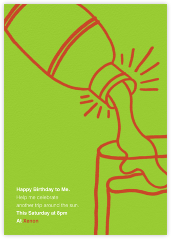 Shake N Roll - Leaf Green - Paperless Post - Adult Birthday Invitations