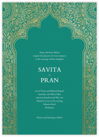 Dvaar (Invitation) - Teal - Paperless Post - Wedding Invitations