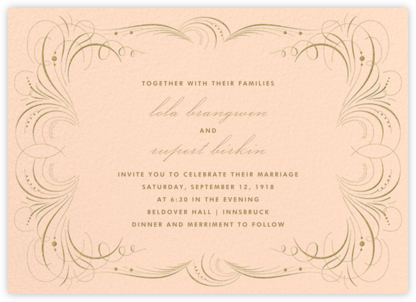 Gold Flourish - Peach - The Indigo Bunting - Wedding Invitations