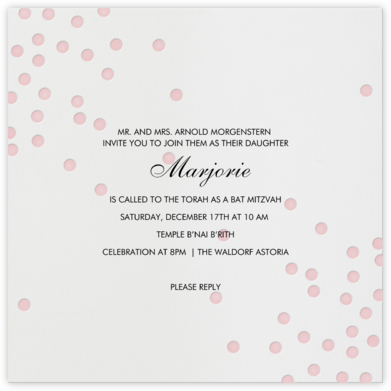 Pink Dots - Linda and Harriett - Bat and Bar Mitzvah Invitations