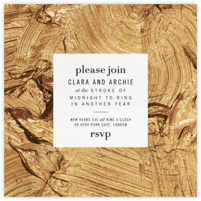 Gypsum (Square) - Gold - Kelly Wearstler - New Year's Eve Invitations