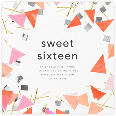 Scatter - Pink - CONFETTISYSTEM - Sweet 16 invitations