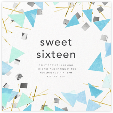 Scatter - Blue - CONFETTISYSTEM - Sweet 16 Invitations