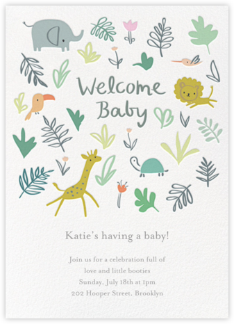 Jungle Love - Little Cube - Elephant Baby Shower Invitations