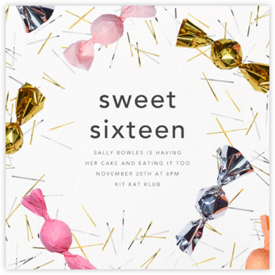 Treats - CONFETTISYSTEM - Sweet 16 invitations