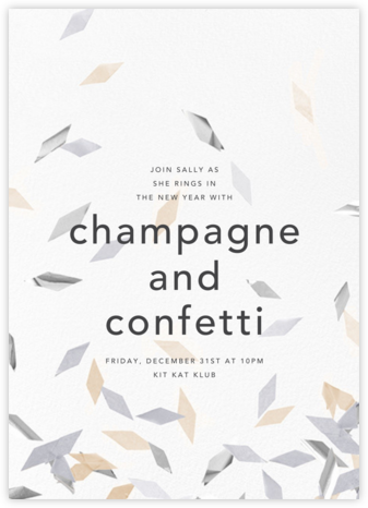 Flutter - Neutral - CONFETTISYSTEM - New Year's Eve Invitations