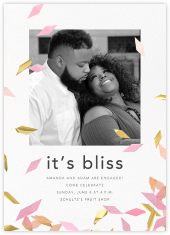 Flutter Photo - Pink - CONFETTISYSTEM - Engagement party invitations