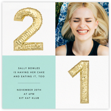Shine Photo - Twenty-one, Mint - CONFETTISYSTEM - Birthday invitations