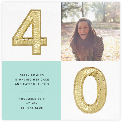 Shine Photo - Forty, Mint - CONFETTISYSTEM - Milestone Birthday Invitations