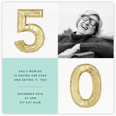 Shine Photo - Fifty, Mint - CONFETTISYSTEM - 50th Birthday Invitations