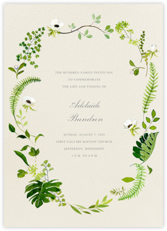 Naiad - Felix Doolittle - Memorial service invitations
