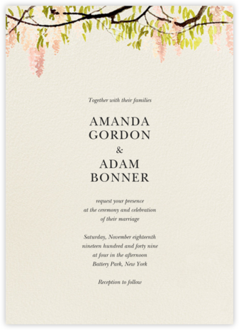 Wisteria Canopy (Invitation) - Meringue - Felix Doolittle - Destination wedding invitations