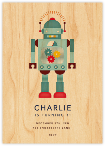 Retro Robot - Petit Collage - Birthday invitations