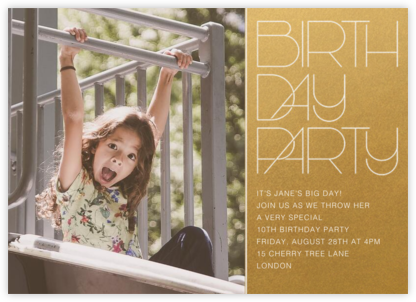 Birthday Candle Lighting (Photo) - Gold - Paperless Post - Online Kids' Birthday Invitations