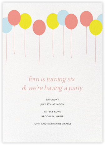 Balloons - Multi - Paperless Post - Online Kids' Birthday Invitations