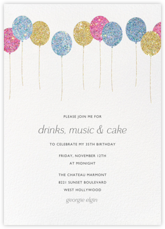 Balloons - Glitter - Paperless Post - Milestone Birthday Invitations