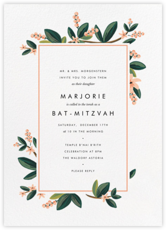 November Herbarium - Rifle Paper Co. - Bat and Bar Mitzvah Invitations