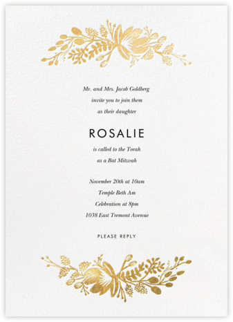 Floral Silhouette - White/Gold - Rifle Paper Co. - Bat and Bar Mitzvah Invitations