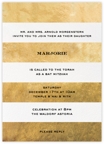 Evergreen Stripes - Gold/White - kate spade new york - Bat and Bar Mitzvah Invitations