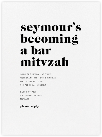 Principle - Black - Vera Wang - Bat and Bar Mitzvah Invitations