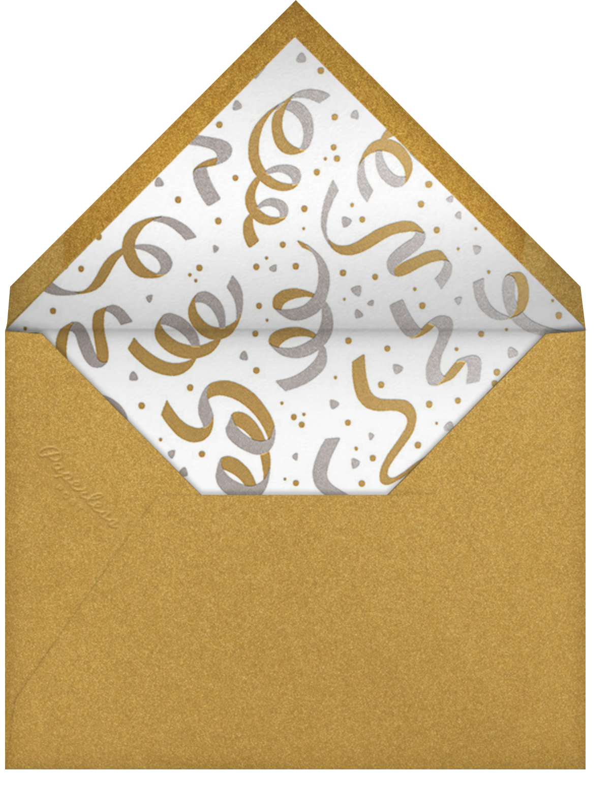 Confetti and Streamers - Gold/Silver - Paperless Post - Adult birthday - envelope back