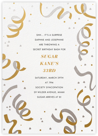 Confetti and Streamers - Gold/Silver - Paperless Post - Adult Birthday Invitations