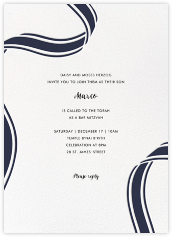 Ellis Hall II (Invitation) - Navy - kate spade new york - Bar and Bat Mitzvah Invitations