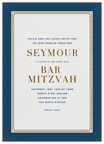 Bold Line - Blue - The Indigo Bunting - Bat and Bar Mitzvah Invitations