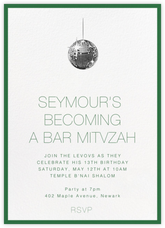 Contorno - Green - Paperless Post - Bar and Bat Mitzvah Invitations
