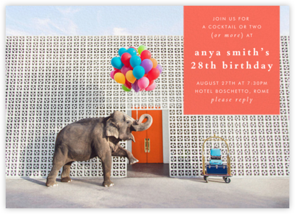 Elephant with Balloons I - Gray Malin - Adult Birthday Invitations