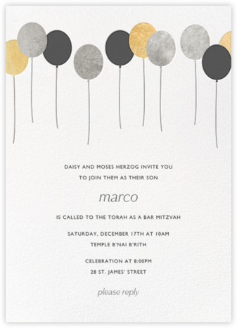 Balloons - Metallic - Paperless Post - Bat and Bar Mitzvah Invitations