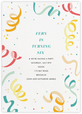 Confetti and Streamers - Multi - Paperless Post - Birthday invitations