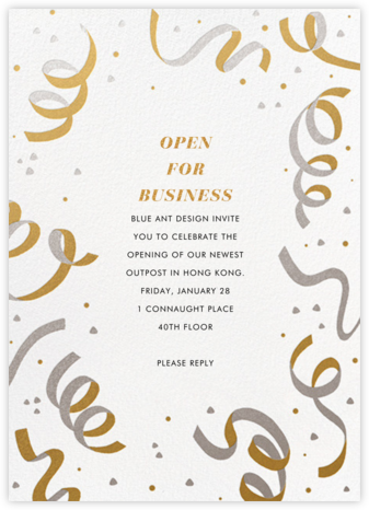 Confetti and Streamers - Gold/Silver - Paperless Post - Launch Party Invitations