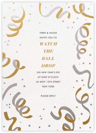 Confetti and Streamers - Gold/Silver - Paperless Post - New Year's Eve Invitations