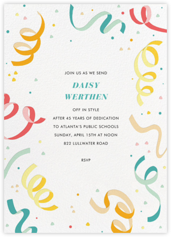 Confetti and Streamers - Multi - Paperless Post - Celebration invitations