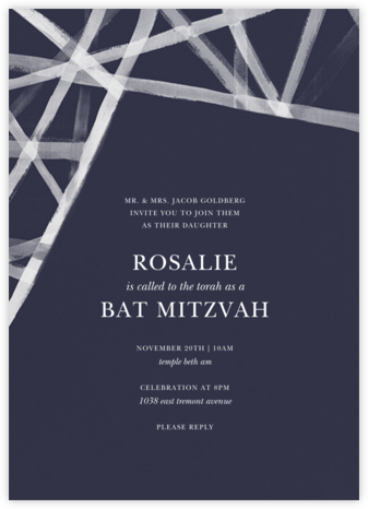 Channels (Invitation) - Navy - Kelly Wearstler - Bat and Bar Mitzvah Invitations