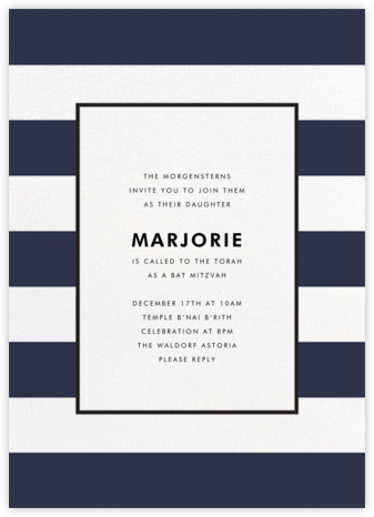 Stripe Suite (Invitation) - Navy - kate spade new york - Bat and Bar Mitzvah Invitations