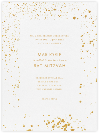 Splatter Cloth I (Invitation) - Gold - Paperless Post - Bat and Bar Mitzvah Invitations