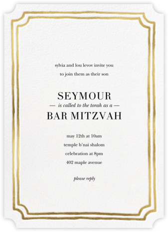 Roosevelt - Gold - Sugar Paper - Bat and Bar Mitzvah Invitations